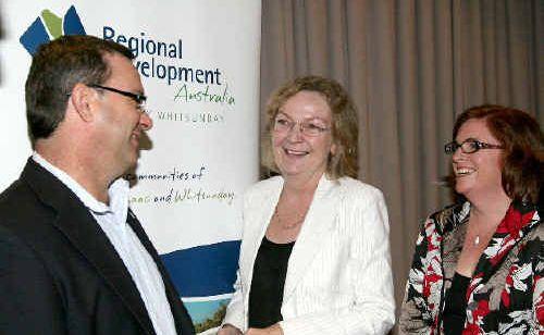 Deputy mayor Darryl Camilleri, Senator Jan McLucas and Regional Development Australia Mackay Whitsunday chief executive Rebecca Andrews attended a forum in Mackay on key infrastructure needs.