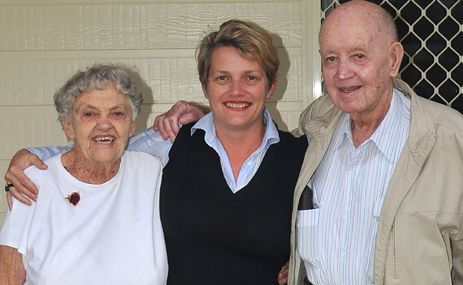 MINISTER'S MATES: Qld Minister for Community Services and Housing Karen Struthers (centre) with old friends Jean and John Bryan, who she saw when she visited Theodore last week.