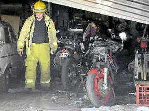 Cafe owner starts shed fire