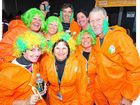 The Oompa Loompas were dressed in orange and enjoying the party at the Aussie Hotel in Maryborough yesterday.