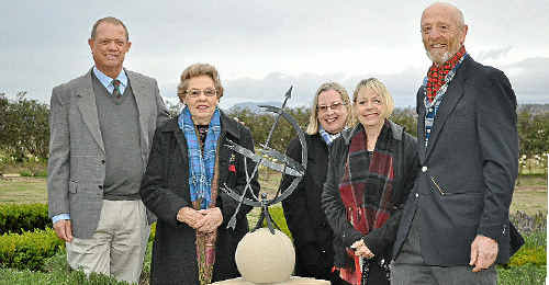 Peter and Marie Ryall, Julia Gilroy, Jennifer McMurray and Bob Gaden represent the Gillespie family as the plinth is unveiled at Glengallan.