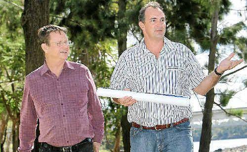 Robert Schwarten and Capricorn Tourism and Economic Development chairman Grant Cassidy look towards development on the riverbank.