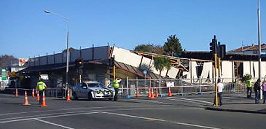 Collapsed buildings in quake-hit Christchurch.