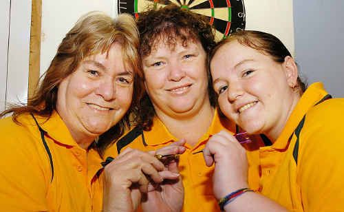 Hervey Bay's Lois Ehrlich (left), her daughter Angela Novley and granddaughter Shantel Novley played in the Sporties Darts Invitational tournament.