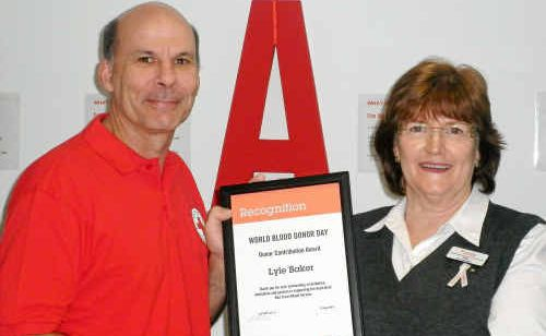 Lyle Baker was thanked by Australia Red Cross Blood Service's Trish James for 141 donations.