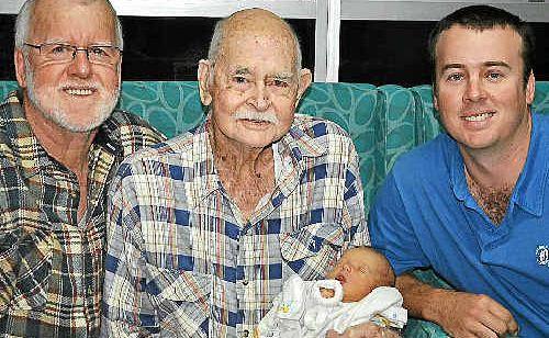 Lester, Athol, Tim and Jackson McCosker together at the Warwick Hospital. J