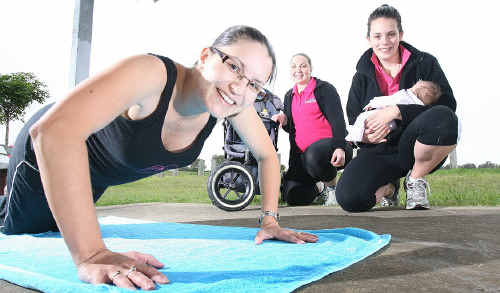 Hot Mums Stroller Boot Camp instructors Roslyn Hackett (middle) and Kirsty Lacey with mum Natalie Scott during one of the sessions.
