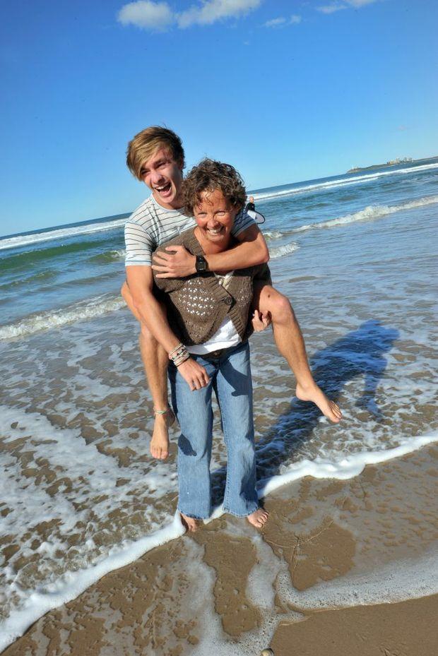 Deborah Burgin was rescued from the surf at Maroochydore Beach by Alex Montgomery.