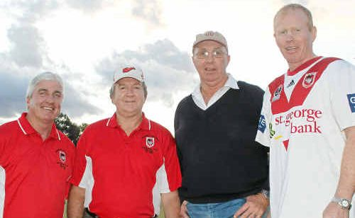 Dave Carr, Mal Hooke, visit co-ordinator Glen Whitton and Cowboys coach/Dragons fan George McVeigh are ready for the arrival of the Dragons.