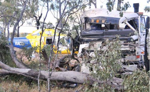 A truck driver made a lucky escape on Fitzroy Development Rd.