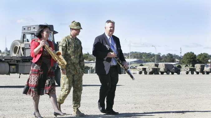 Mayoress Gail Carter, Australian Army Captain Brad Roos and Mayor Brad Carter at the Rockhampton Military base.