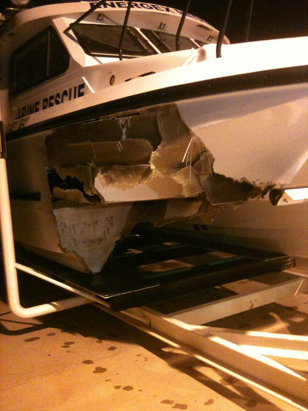 One hull of this catamaran was torn apart during a collision with a whale.