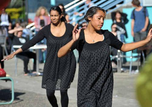 CELEBRATIONS: Sarah Lugnan and Elaina Ahoy were among the troupe performing traditional Australian, Samoan and hip-hop dances.