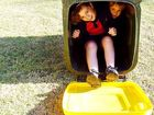 Maddy and Kyle O'Donohue's first reaction was to climb in their new recycling bin.