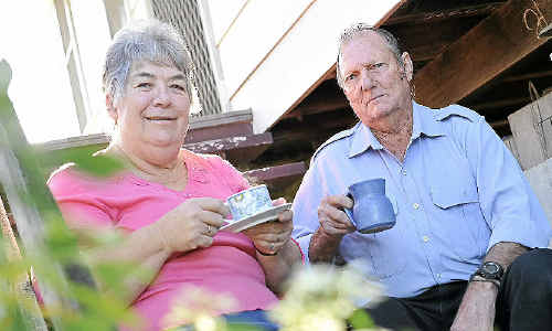 Calliope residents Keith and Heather Jensen enjoy a cuppa together.