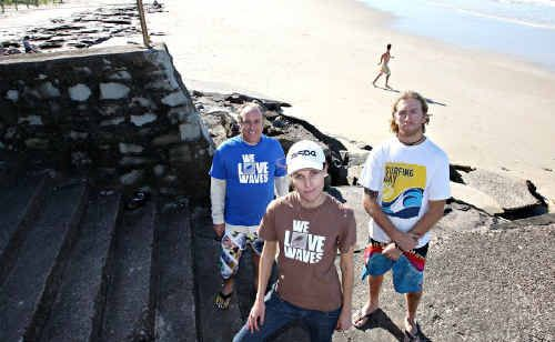 Surfrider Australia Foundation branch president Sally Atkinson, Glenn Neilsen (left) and Craig Macintyre are against the rockwall proposal.