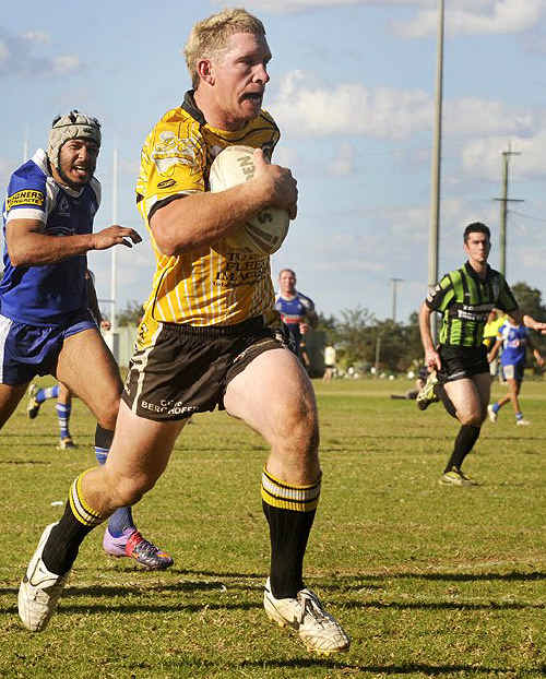 Jamie Dodt breaks away to score for Gatton in last year's Toowoomba competition.