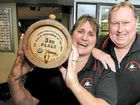 Aileen Shelton, with her boss Geoff McIntosh of the Western Suburbs Leagues Club, placed third in the UGLY bartender of the year competition.
