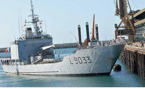 The French navy ship docks in Mackay.