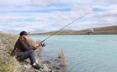 Chris Eagles almost got lucky with two trout on the end of the line in the Tekapo Canal but, alas, they got away.