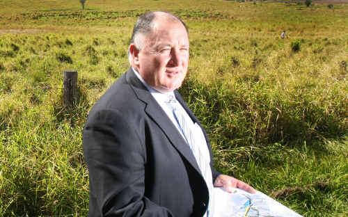 Mayor Steve Jones at the site of Grantham's post-flood housing development.