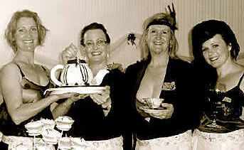Organisers Belinda Dendle, Rae Sproxton, Jeanelle Horn and Christie Dendle serve up charity with added style.