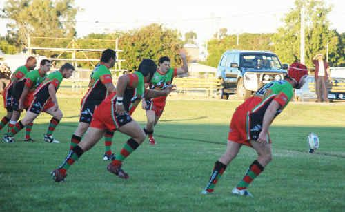 Bluff Rabbitohs lining up in a match earlier this season.
