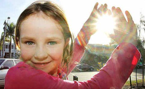 Sunshine Coast visitor Alia Coffey, 8, of Sydney, enjoyed the sunshine at Maroochydore Beach yesterday.