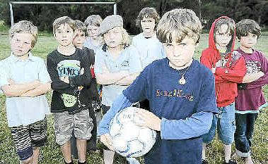 Nimbin Headers under 9's soccer players Mali Drenkovki with team-mates JJ Lachner, Eli Boomsmar, Xian Parker, Arky Ryall, Sam Davey, Journey Nadayford, Sylvan Tallow and Katori Hout.