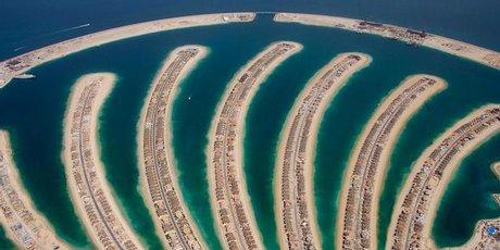 Jumeira Palm residential development in Dubai from the air.