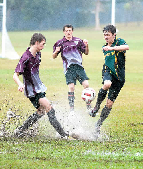 Pools of water were an unexpected hazard during yesterday's knockout schoolboy football match between Orara and Alstonville high schools.