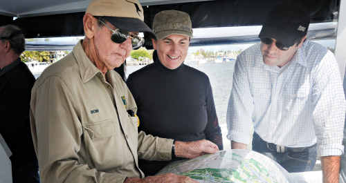 Fishing industry environmentalist Joe McLeod at the wheel, with Bob Irwin, Carole Gillies and Queensland party leader Aidan McLindon.