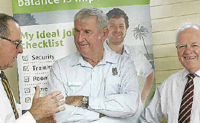 Denis Keeffe, Cr Cedric Marshall and Geoff Murphy at a meeting between CQ mayors and the CQ NRL Bid leaders.