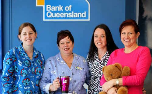 Bank of Queensland employees Leanne Shorten, Jan Perriman, Melissa Geddes and Sharon Wilson dressed in their PJs to launch the children's hospitals appeal.