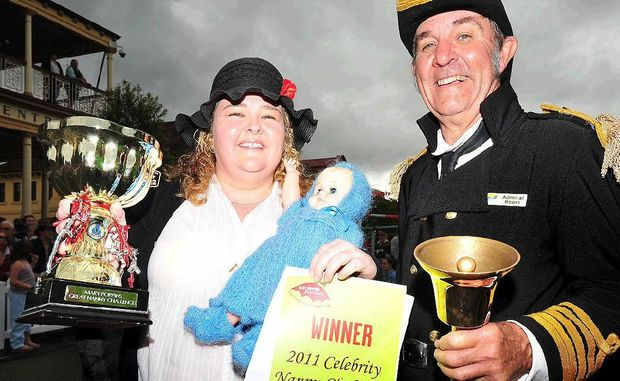 Nanny challenge race winner Connie Moore with 'Admiral Boom' Ken Ashford at the Mary Poppins Festival in Maryborough yesterday.