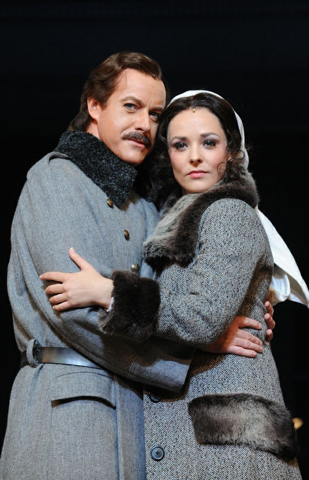 Performers Anthony Warlow as Dr Zhivago and Lucy Maunder on stage after a dress rehearsal of the new musical Dr Zhivago. Photo: AAP.