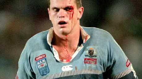 Paul Harragon of the Blues goes to the blood bin during game three of the State Of Origin series between the Blues and Maroons in 1997.