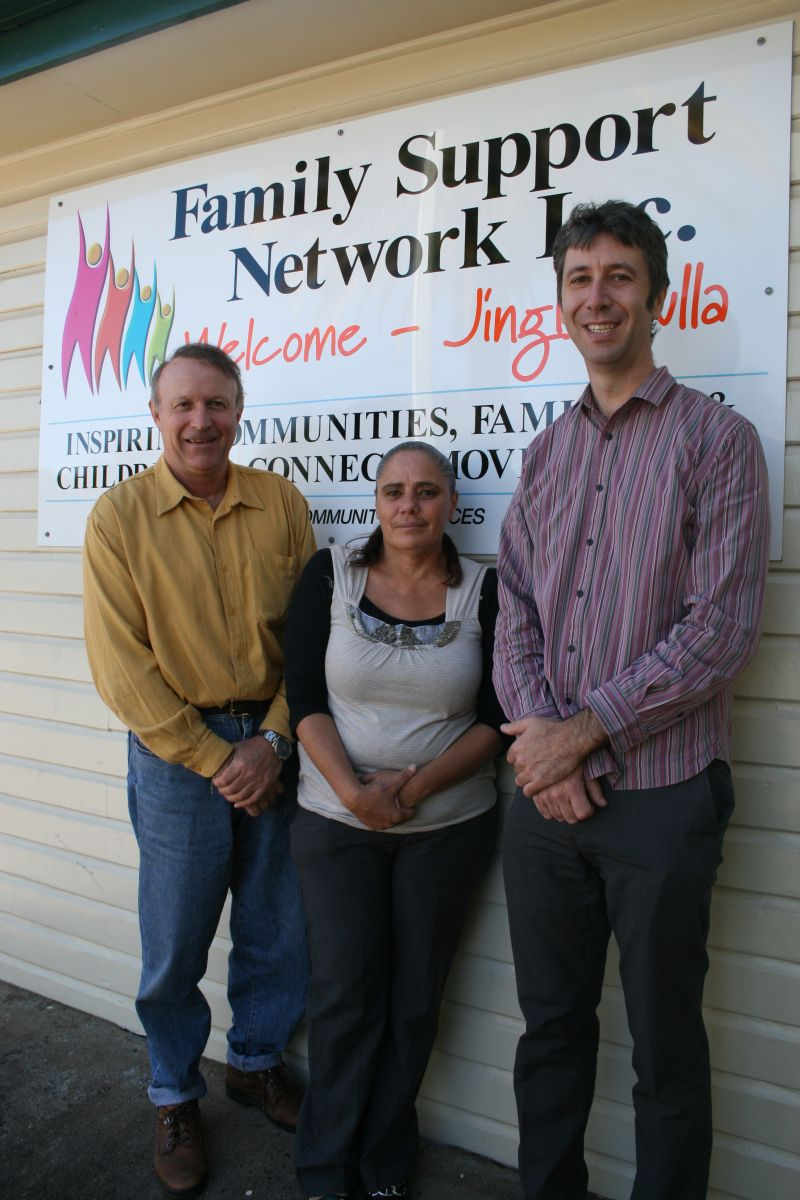 FSN manager Neil Morton with Indigenous trainee Patricia Roberts and NRSDC CEO Tony Davies.