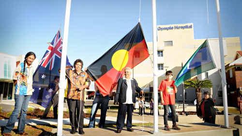 Indigenous health worker Elise Bailey, Cooloola Aboriginal Services president Aunty Lillian Burke, elder Aunty Olive Bennet and Torres Strait Islander representative Chop Lewis.