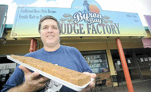 Byron Bay Fudge Factory owner Gary Amedee outside his Ballina shop, a far cry from cattle farming.