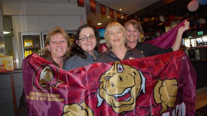 Queensland supporters, from left, Janice Homewood, Nicole Middleton, Liz Brown and Heather Cupit will be cheering on Darren Lockyer as he makes his final State of Origin appearance in the third and deciding match tomorrow night.