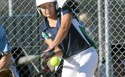 Rockhampton's Breanna Franks gets some power behind her hit at Kele Park while playing for Queensland Flames yesterday.