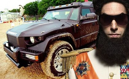 Sacha Baron Cohen as his new character, The Dictator, with a Russian-made Dartz.