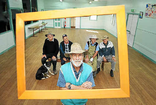 Bentley Hall Art Prize hangers of 27 years ready to roll. Centre front John Doman and back from left Allan Trustum and his dog Bob, George McKenna, Gordon Serone and Lloyd Armstrong.