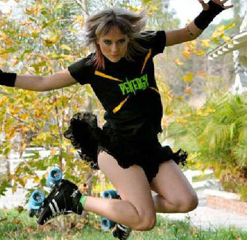 Former Ipswich roller derby girl Penny 'Penergy!' Glasswell is shooting a movie.