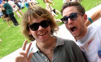 APN's 2011 Splendour in the Grass competition winner Andy Merrick, centre, pictured with his brother Jackson, left, who he is taking to the festival.
