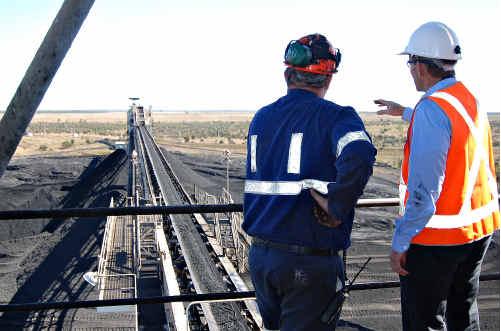 Opposition Leader Tony Abbott talks coal at the North Goonyella Mine.