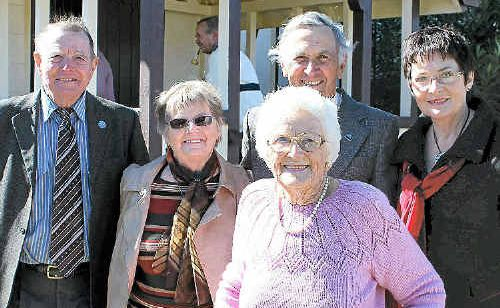 (Back, from left) Ron Brown, Avon Drover, Graham Reid, Merilyn Menzies and (front) past church organist Estelle Ezzy.