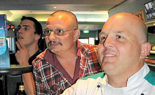 Garth Barrett, Darren Guihot and Glenn Boston at the Warwick RSL TAB to watch Cuban in the Queensland Cup.