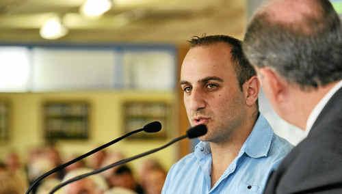 Black Piranha's trainer, Con Karakatsanis, at the barrier draw luncheon at the Clarence River Jockey Club.